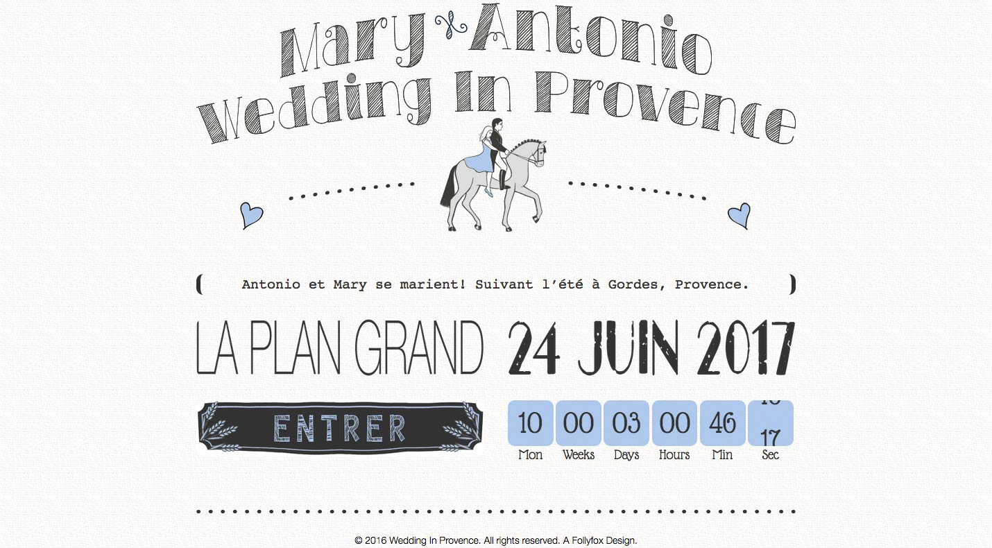 Website Design Project for Wedding In Provence